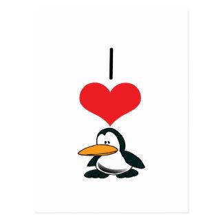 I Heart (Love) Penguins Postcard