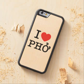 I Heart (Love) Pho Carved® Maple iPhone 6 Bumper Case