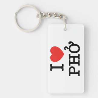 I Heart (Love) Pho Double-Sided Rectangular Acrylic Keychain