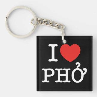 I Heart (Love) Pho Double-Sided Square Acrylic Keychain