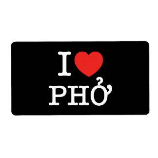 I Heart (Love) Pho Label