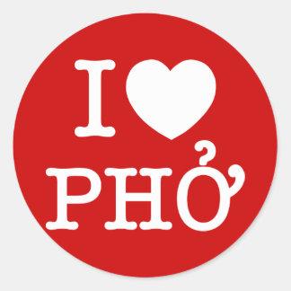 I Heart (Love) Pho Round Sticker