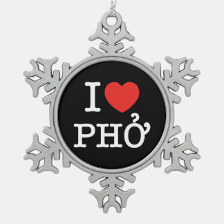 I Heart (Love) Pho Snowflake Pewter Christmas Ornament