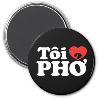 I Heart (Love) Pho (Tôi ❤ PHỞ) Vietnamese Language 3 Inch Round Magnet