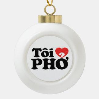 I Heart (Love) Pho (Tôi ❤ PHỞ) Vietnamese Language Ceramic Ball Christmas Ornament