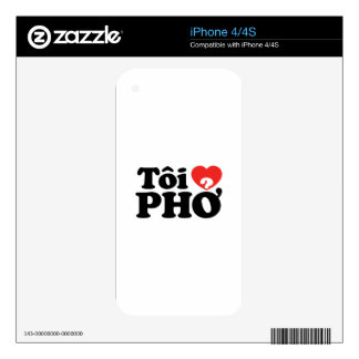 I Heart (Love) Pho (Tôi ❤ PHỞ) Vietnamese Language Decal For iPhone 4