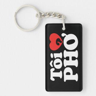 I Heart (Love) Pho (Tôi ❤ PHỞ) Vietnamese Language Double-Sided Rectangular Acrylic Keychain