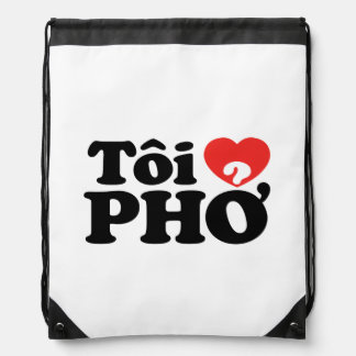 I Heart (Love) Pho (Tôi ❤ PHỞ) Vietnamese Language Drawstring Bag