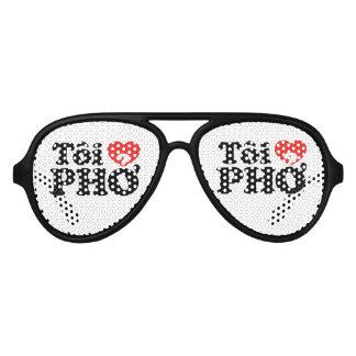 I Heart (Love) Pho (Tôi ❤ PHỞ) Vietnamese Language Aviator Sunglasses