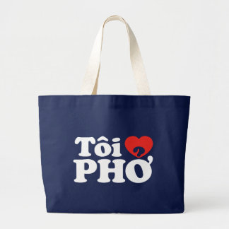 I Heart (Love) Pho (Tôi ❤ PHỞ) Vietnamese Language Large Tote Bag