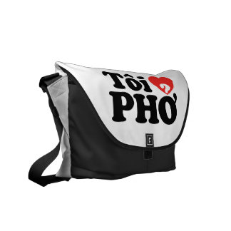 I Heart (Love) Pho (Tôi ❤ PHỞ) Vietnamese Language Messenger Bag