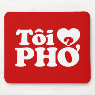 I Heart (Love) Pho (Tôi ❤ PHỞ) Vietnamese Language Mouse Pad