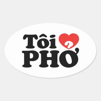 I Heart (Love) Pho (Tôi ❤ PHỞ) Vietnamese Language Oval Sticker