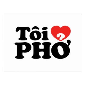 I Heart (Love) Pho (Tôi ❤ PHỞ) Vietnamese Language Postcard
