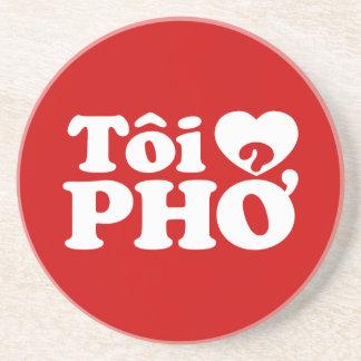 I Heart (Love) Pho (Tôi ❤ PHỞ) Vietnamese Language Sandstone Coaster
