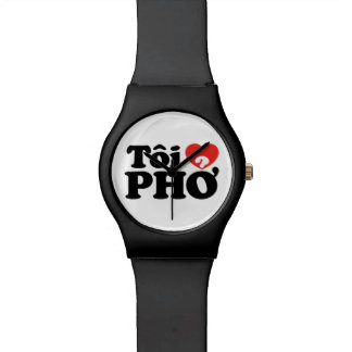 I Heart (Love) Pho (Tôi ❤ PHỞ) Vietnamese Language Wristwatches