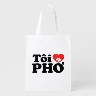 I Heart (Love) Pho (Tôi ❤ PHỞ) Vietnamese Language Market Totes