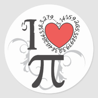 I Heart (LoVe) Pi Classic Round Sticker