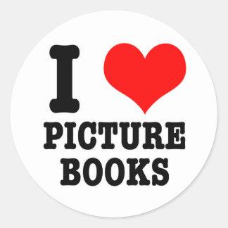I HEART (LOVE) PICTURE BOOKS ROUND STICKER