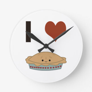 I heart (love) Pie Round Clock