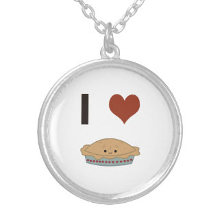 I heart (love) Pie Silver Plated Necklace