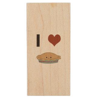 I heart (love) Pie Wood USB 2.0 Flash Drive