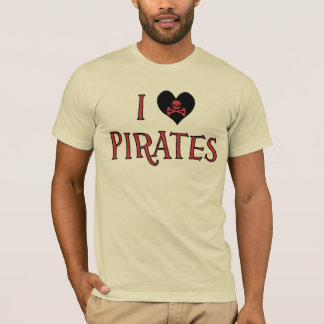 I Heart (Love) Pirates Mens T-Shirt