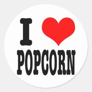 I HEART (LOVE) POPCORN CLASSIC ROUND STICKER