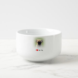 I heart Love pugs bowl