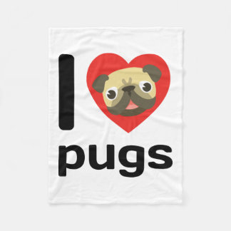 I heart (love) pugs fleece blanket