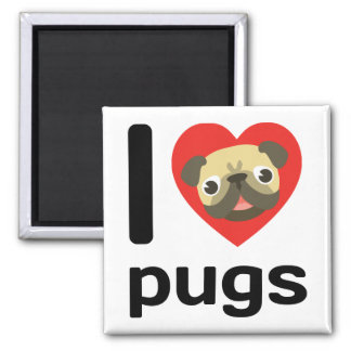 I heart (love) pugs magnet