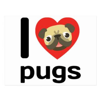 I heart (love) pugs postcard