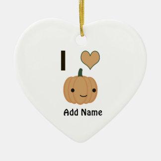 I heart (love) pumpkin ceramic ornament