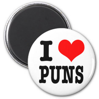 I HEART (LOVE) PUNS 2 INCH ROUND MAGNET