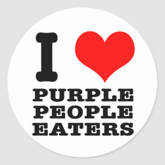 I HEART (LOVE) PURPLE PEOPLE EATER CLASSIC ROUND STICKER