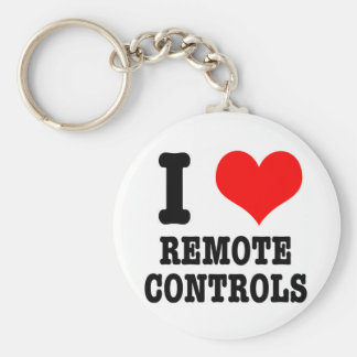 I HEART (LOVE) remote controls Basic Round Button Keychain