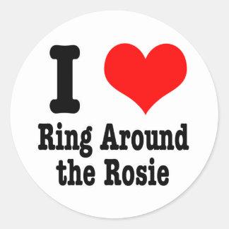 I HEART (LOVE) RING AROUND THE ROSIE CLASSIC ROUND STICKER