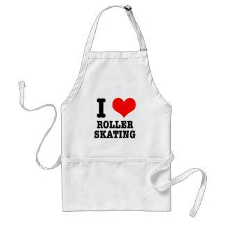 I HEART (LOVE) ROLLER SKATING ADULT APRON