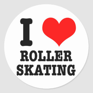 I HEART (LOVE) ROLLER SKATING CLASSIC ROUND STICKER