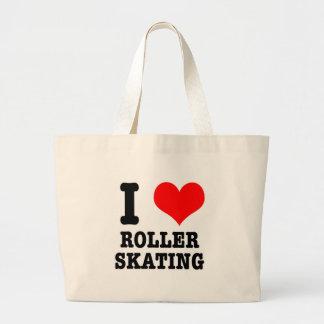 I HEART (LOVE) ROLLER SKATING LARGE TOTE BAG