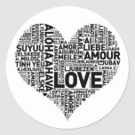 I HEART LOVE ROUND STICKERS