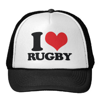 I Heart / love Rugby Trucker Hat