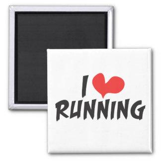 I heart (love) Running 2 Inch Square Magnet