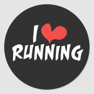 I heart (love) Running Classic Round Sticker