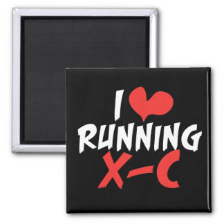 I heart (love) Running Cross Country 2 Inch Square Magnet