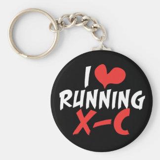 I heart (love) Running Cross Country Keychain