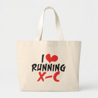 I heart (love) Running Cross Country Large Tote Bag