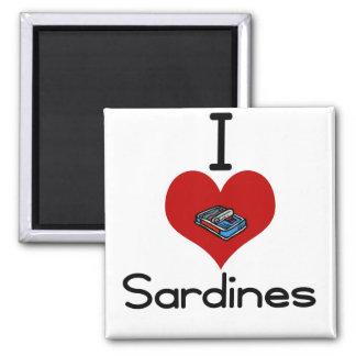 I heart-love sardines 2 inch square magnet