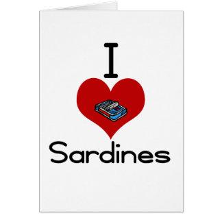 I heart-love sardines greeting card