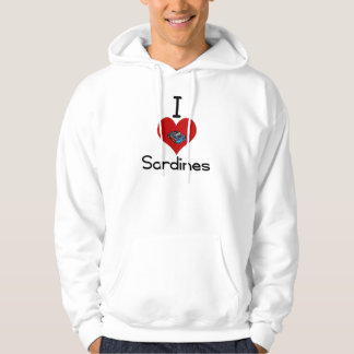 I heart-love sardines hooded sweatshirts